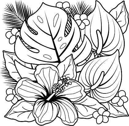 Tropical Plants And Hibiscus Flowers Coloring Book Page