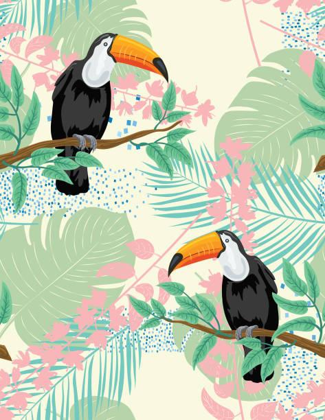 tropical plants and toucan seamless pattern - exotic animals stock illustrations