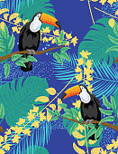 Seamless Tropical Plants with Leaves, Orchids and Toucans