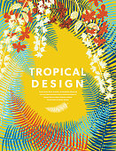 Tropical Design template With Copy Space. Flat Color.