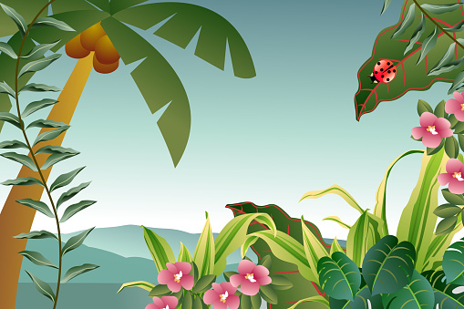 Illustration of a tropical plant background. High resolution jpg file included. Also see similar: