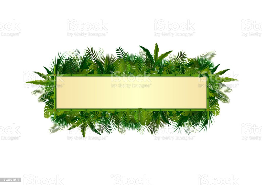 Tropical plants background. vector art illustration