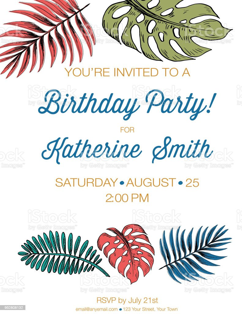 Tropical Plants Invitation Template Stock Vector Art More Images