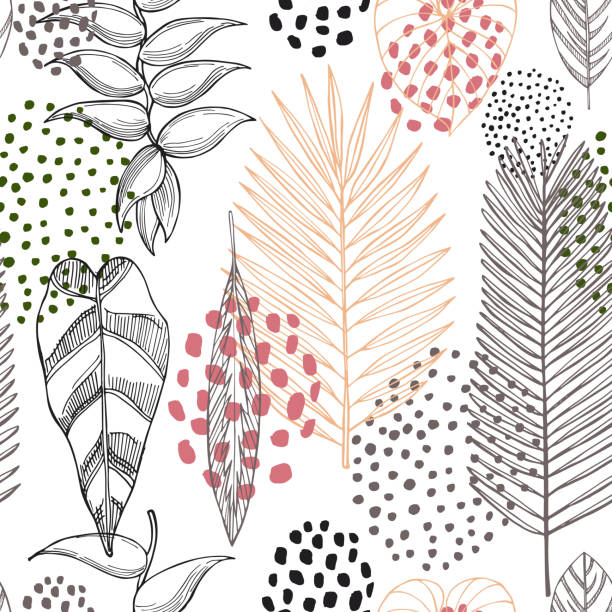 Tropical plants. Leaves and flowers.Vector pattern Hand drawn tropical plants. Leaves and flowers.Vector seamless pattern idyllic stock illustrations