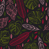 Hand drawn tropical plants. Leaves and flowers.Vector seamless pattern