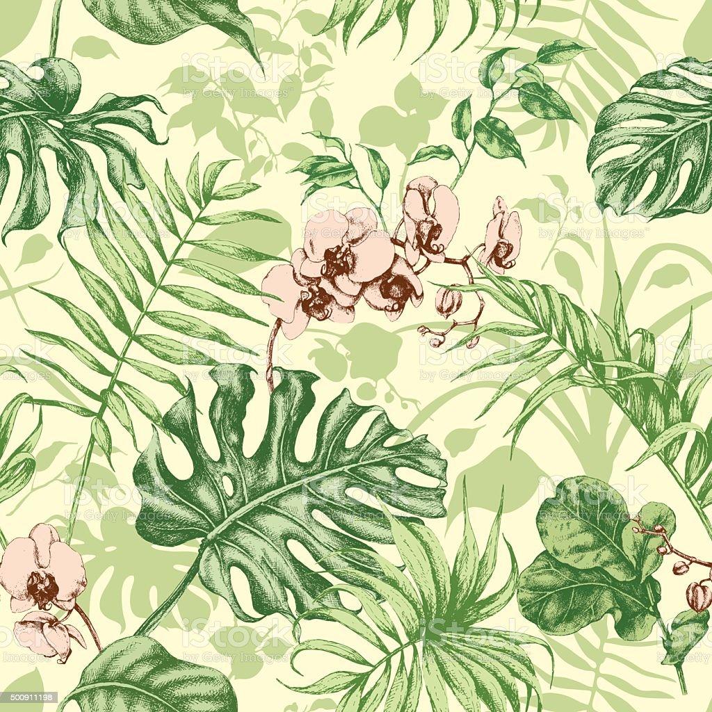 Plantas tropicales sin costuras fondo. - ilustración de arte vectorial