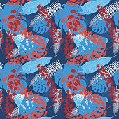 Tropical Plants Seamless Pattern. Ideal for wrapping paper, textiles or backgrounds.