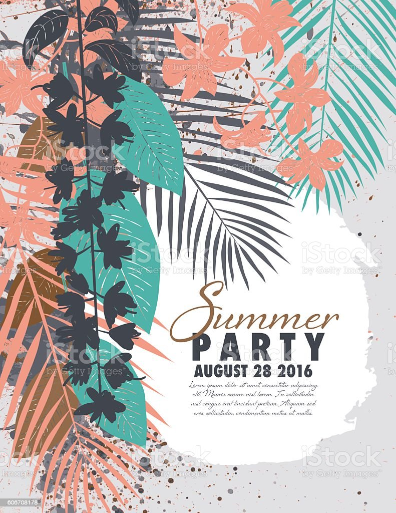 tropical plants summer party invitation template のイラスト素材