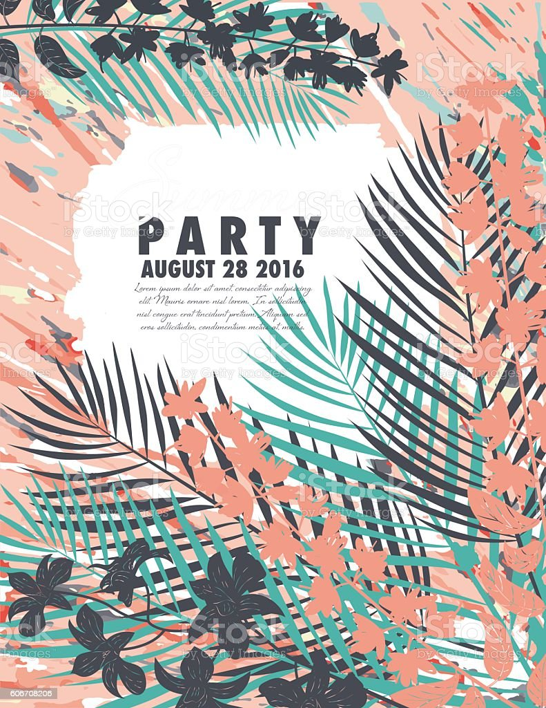 Tropical Plants Summer Party Invitation Template stock vector art – Free Summer Party Invitation Templates