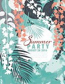 Tropical Plants Summer Party Invitation template. Assorted plants and leaves over a splashed watercolor background.
