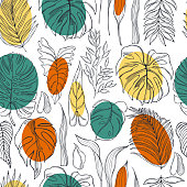 Hand drawn tropical plants.Vector seamless pattern