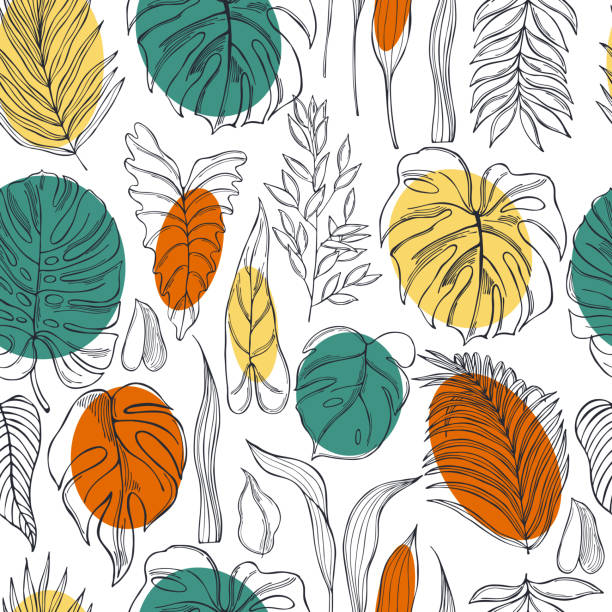 Tropical plants.Vector  pattern Hand drawn tropical plants.Vector seamless pattern idyllic stock illustrations
