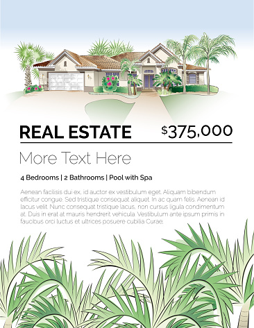 Tropical Real Estate Design Template with Southern-Style House, Palm Trees and Lush Foliage