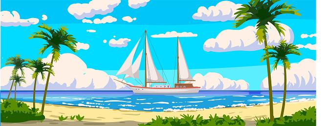 Tropical resort landscape panorama, sailboat. Sea shore sand, exotic palms, coastline, clouds, sky, summer vacation. Vector illustration cartoon style