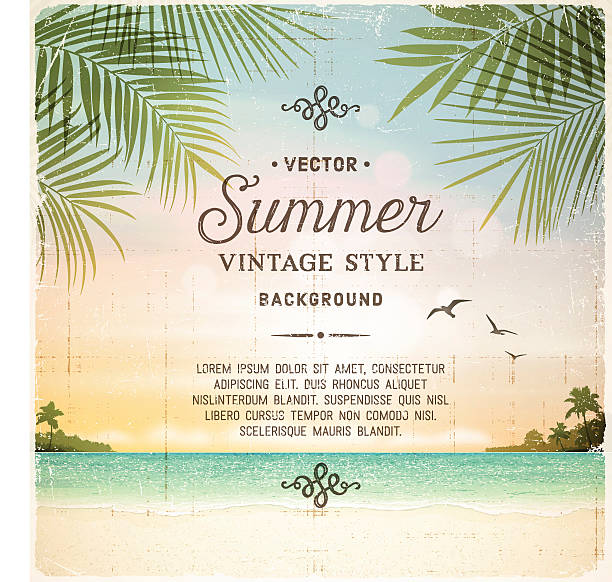 tropical retro beach summer background - palm leaf stock illustrations, clip art, cartoons, & icons