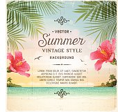 Tropical Retro Beach Summer Background