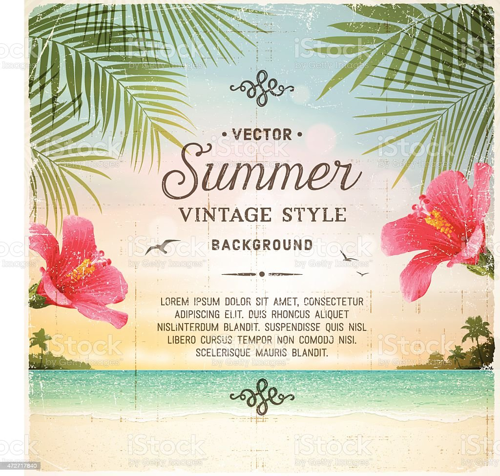 Tropical Retro Beach Summer Background vector art illustration