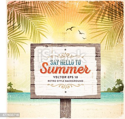 Tropical summer vacation retro background with wooden sign, tranquil sea, white sand beach, islands, palm trees, palm leaves and text.File is layered with global colors.Only gradients and blur(clouds) used.Hi res jpeg without text included.More works like this linked below.