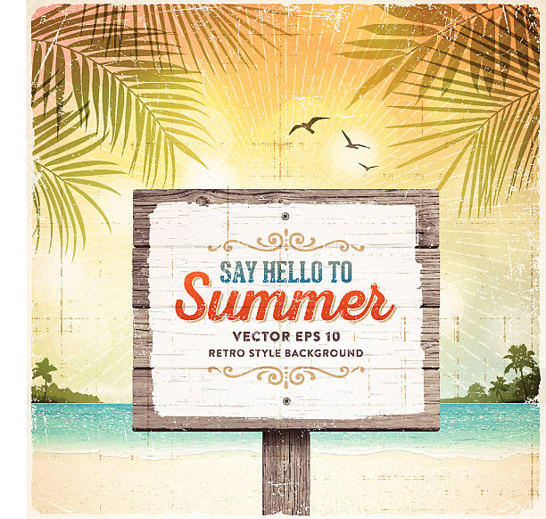 Tropical Retro Beach Summer Wooden Sign Background Tropical summer vacation retro background with wooden sign, tranquil sea, white sand beach, islands, palm trees, palm leaves and text.File is layered with global colors.Only gradients and blur(clouds) used.Hi res jpeg without text included.More works like this linked below. beach borders stock illustrations