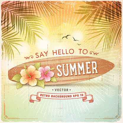 Tropical Retro Summer Surfboard Sign Background