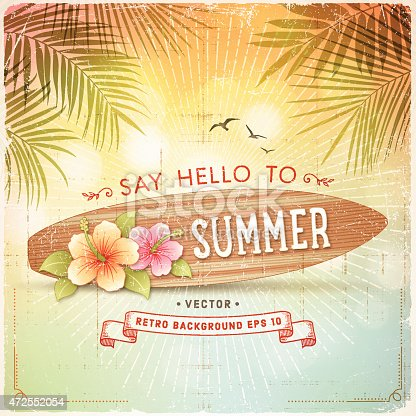 Tropical retro summer background with surfboard, hibiscus, palm leaves and text.File is layered with global colors.Only gradients and drop shadow used.More works like this linked below.