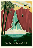 Vector illustration of a Tropical Rock Waterfall cliff with birds scenic poster design with text. Vintage texture overlay. Fully editable EPS 10.