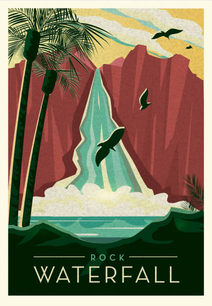 Tropical Rock Waterfall cliff with birds scenic poster design with text vector art illustration