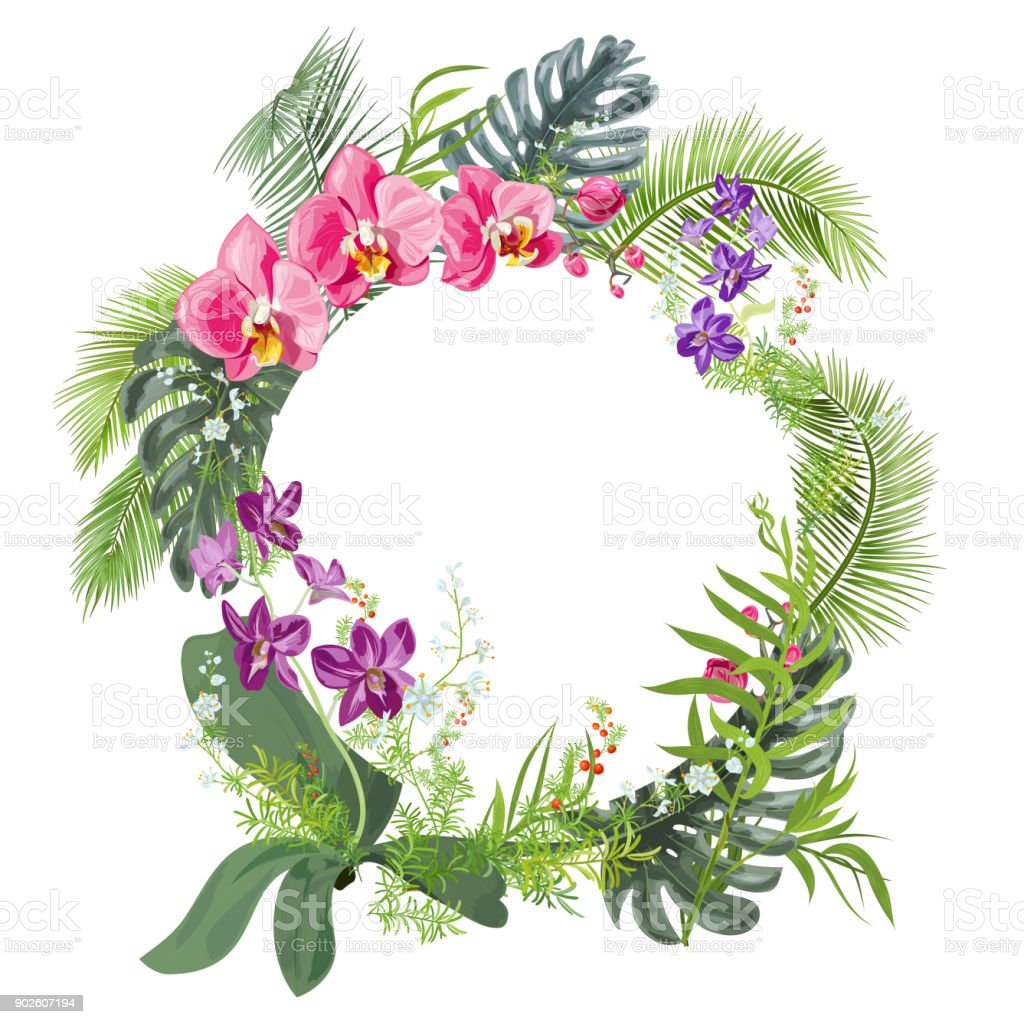 Tropical Round Frame With Bouquet Red Purple Orchids White Small ...