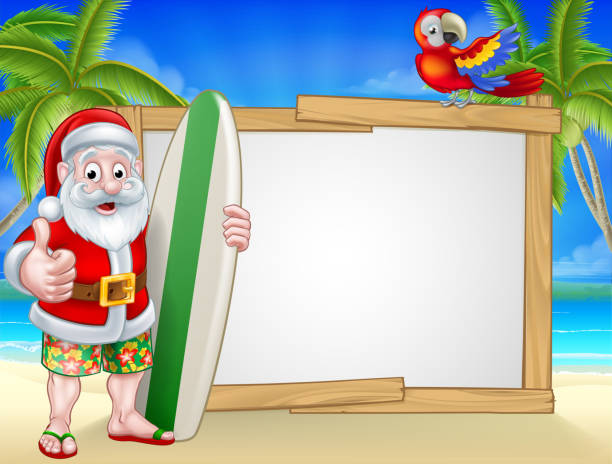 Tropical Santa Beach Background Cartoon of surfing Santa Claus on a tropical beach holding a surf board and giving a thumbs up. In his Hawaiian board shorts with parrot and background sign australian christmas stock illustrations