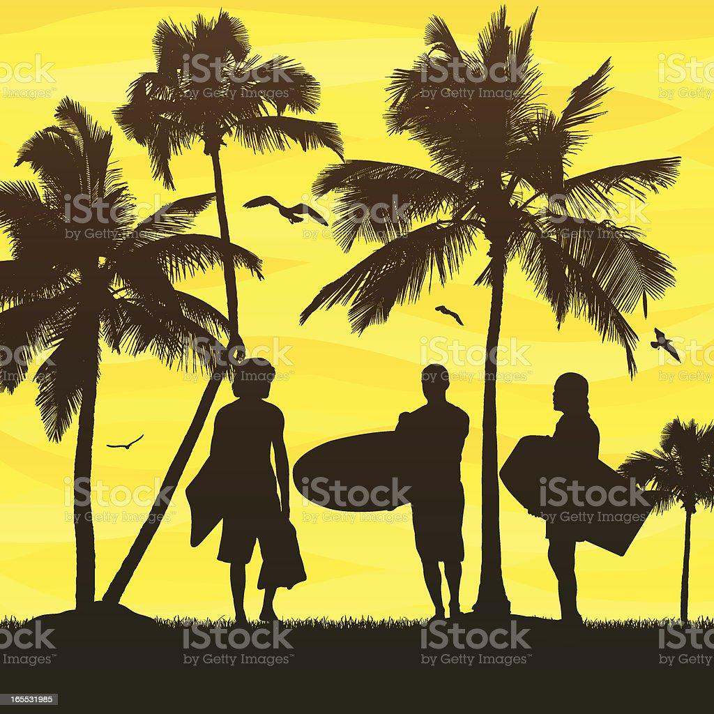 Tropical Scene vector art illustration