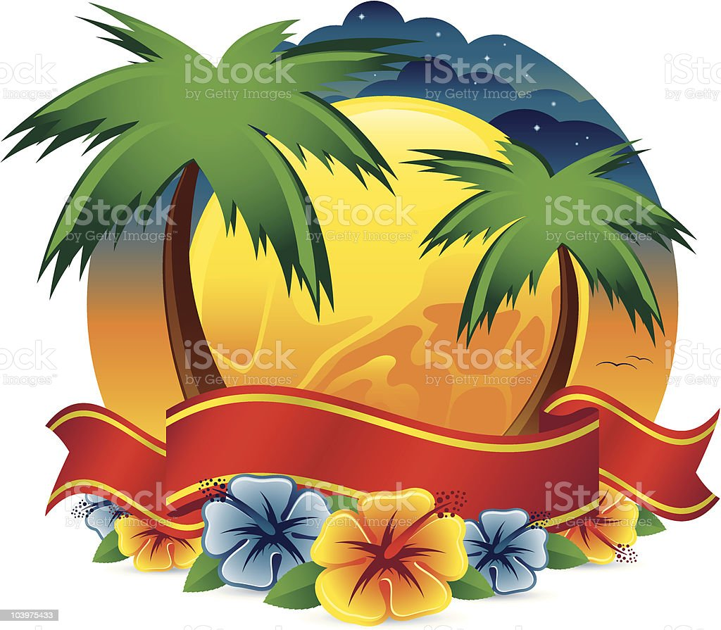 Tropical Scene with Banner vector art illustration