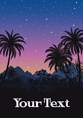 Tropical Night Landscape, Palm Trees and Exotic Plants Black Silhouettes on the Background of Mountains and Starry Sky. Eps10, Contains Transparencies. Vector