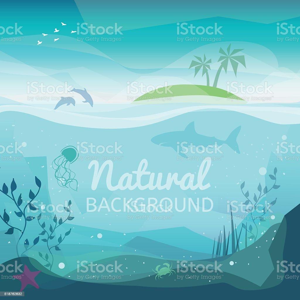 Tropical sea natural background vector art illustration
