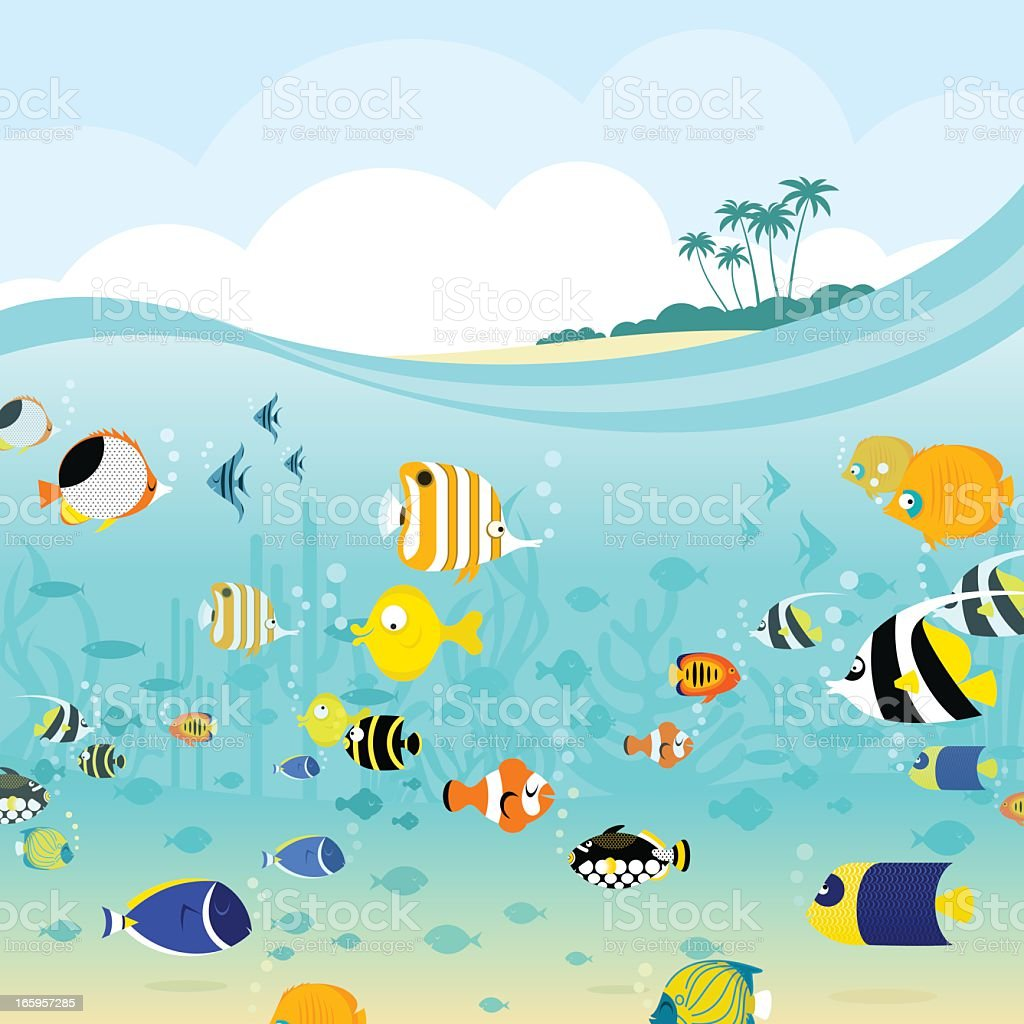 Tropical sea vector art illustration