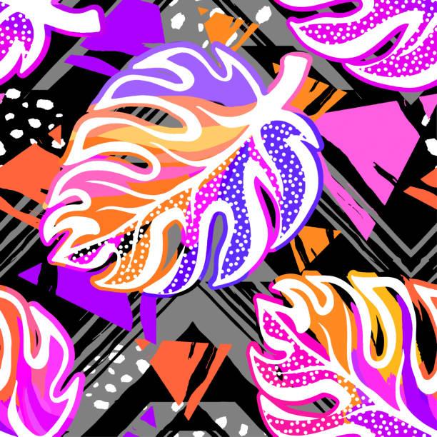 tropischen nahtlose exotische blätter vektormuster. - hibiskusgarten stock-grafiken, -clipart, -cartoons und -symbole