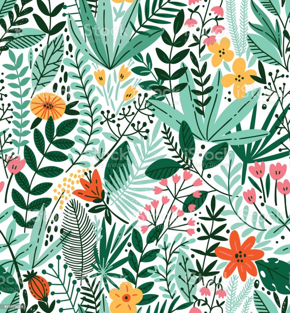 Tropical seamless floral pattern. Autumn vector illustration royalty-free tropical seamless floral pattern autumn vector illustration stock illustration - download image now