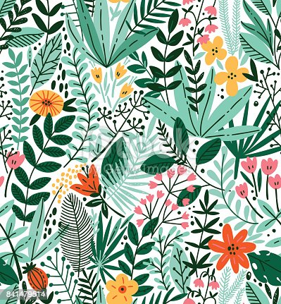 istock Tropical seamless floral pattern. Autumn vector illustration 841479514