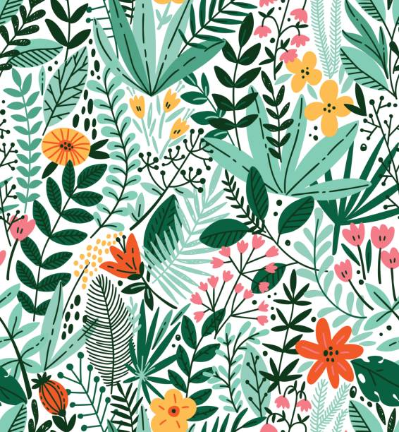 tropical seamless floral pattern. autumn vector illustration - vintage nature stock illustrations, clip art, cartoons, & icons