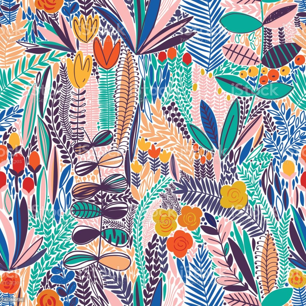 Tropical seamless floral pattern vector art illustration