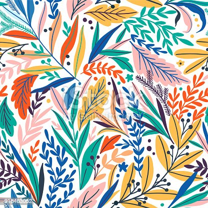 istock Tropical seamless leaves pattern. Vector illustration 918463052