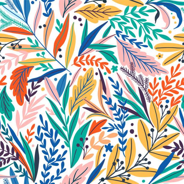 완벽 한 열 대 잎 패턴입니다. 벡터 일러스트 레이 션 - 꽃 식물 stock illustrations