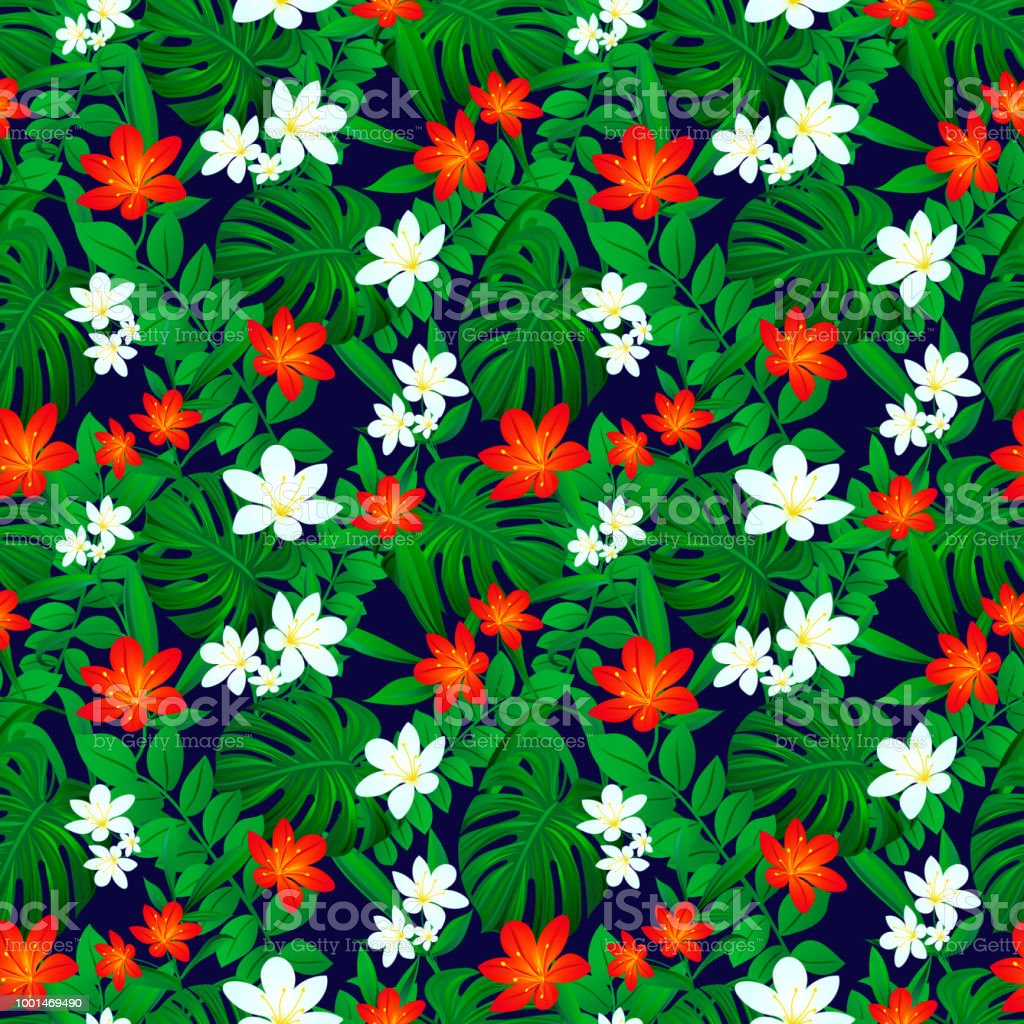 Tropical Seamless Pattern Exotic Leaves Repeated Texture Vector