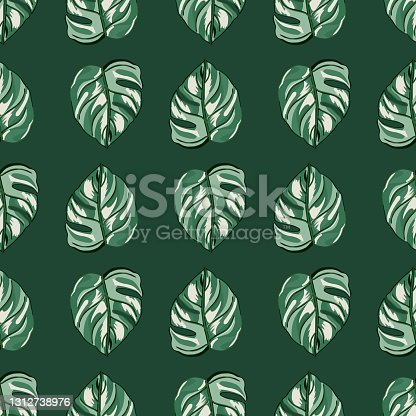 istock Tropical seamless pattern on green background. Abstract texture decoration with leaf monstera real color with black outline. 1312738976