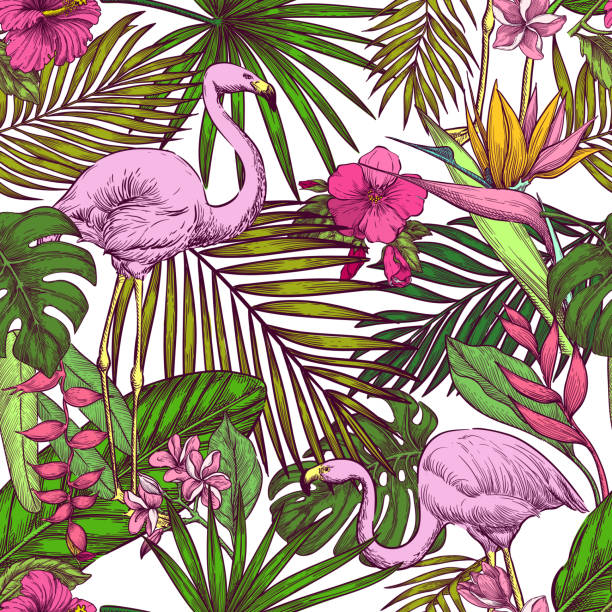 Tropical seamless pattern. Pink flamingo, exotic flowers and palm leaves on white background. Vector sketch illustration Tropical seamless pattern. Pink flamingo, exotic flowers and palm leaves on white background. Vector color hand drawn sketch illustration. Summer trendy design for fashion textile prints. bird of paradise plant stock illustrations