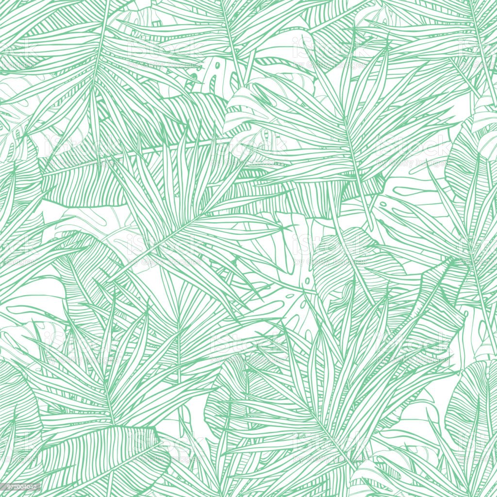 Tropical seamless pattern. Texture with banana leaves, palm and  monstera. Hand drawn illustration. Summer vector design. vector art illustration