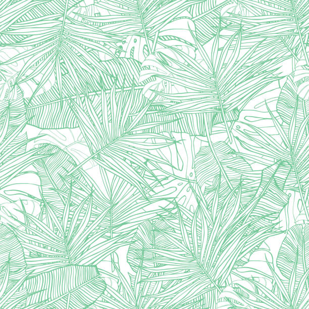 tropical seamless pattern. texture with banana leaves, palm and  monstera. hand drawn illustration. summer vector design. - palm tree stock illustrations