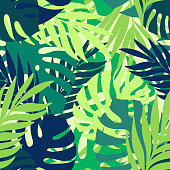 A seamless pattern of tropical leaves.