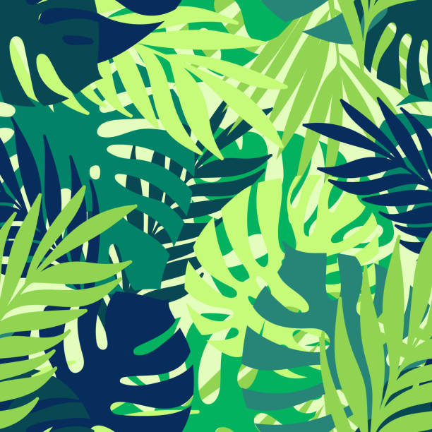 tropical seamless pattern - jungle stock illustrations