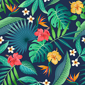 Seamless pattern with tropical beautiful strelitzia flowers and leaves exotic background.