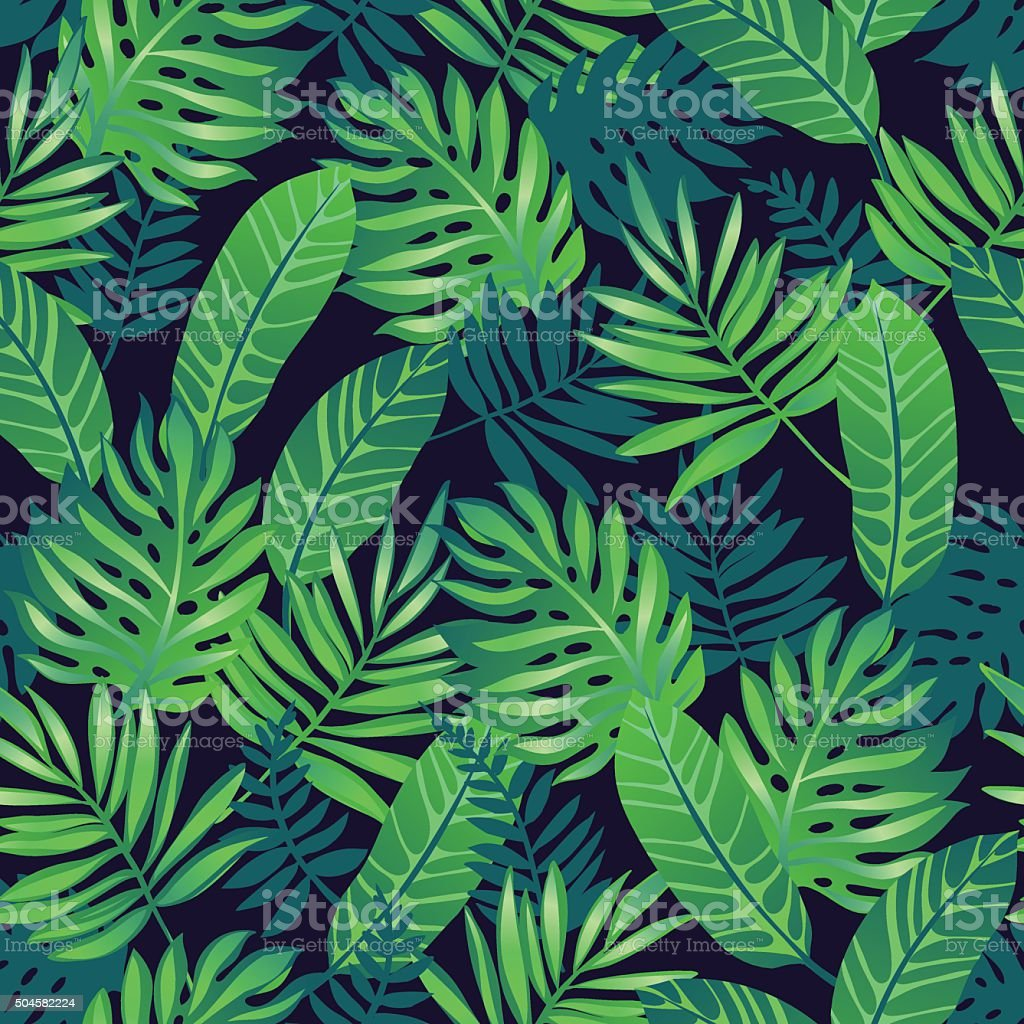 Tropical seamless pattern. vector art illustration